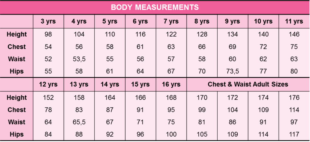 Girls Measurements