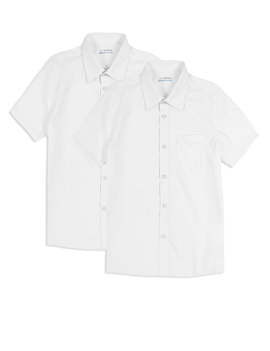 2 pack boys non iron shirts short sleeve years 3 6 for Short sleeve school shirts