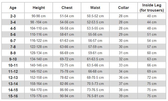 e4654701993e2 Size Guide – M & S Uniforms